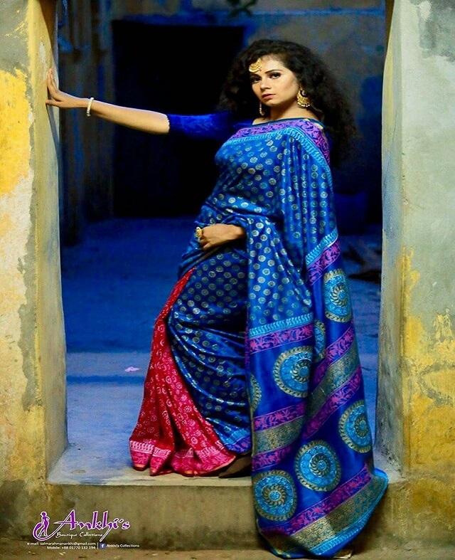 blue shari toshor silk